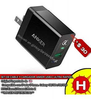 Combo Cargador 3.0 18w + Cable Usb C 1.8mt Anker Original