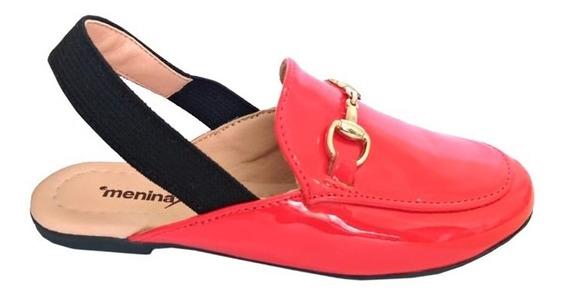 Sapato Social Infantil Menina Rio Mocassim Mule Vermelho