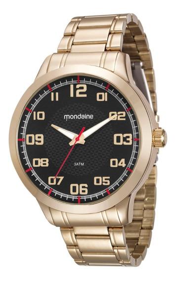 Relógio Masculino Mondaine Dourado 99142gpmvde3 Em Couro