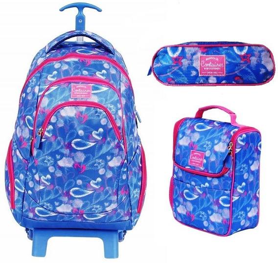 Kit Mochila Escolar Feminino Azul Com Rosa Lancheira Estojo