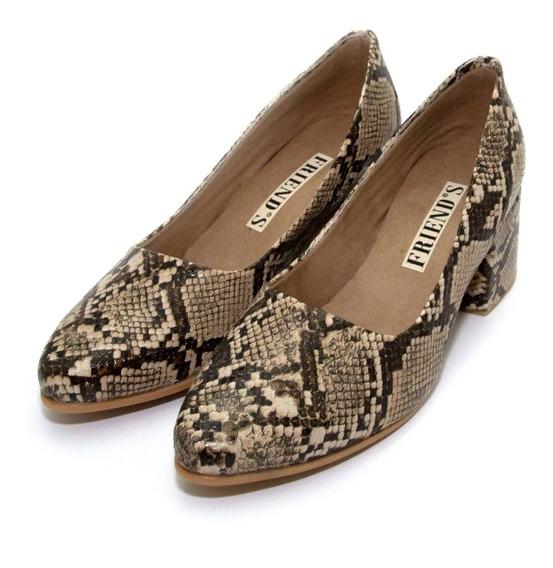 Zapatos Vestir Reptil Taco Bajo Class Express Art. 950