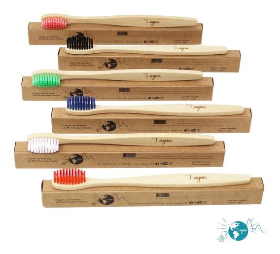Lagnie Set 6 Cepillos Dientes Ecológicos Bambú Mayoreo Colores Disponibles Al Elegir Variante, Cerda Media Envío Gratis