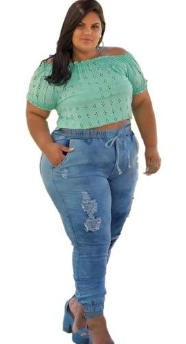 Imagem 1 de 5 de Calça Jeans Plus Size Jogger Destroyed Feminina Lycra