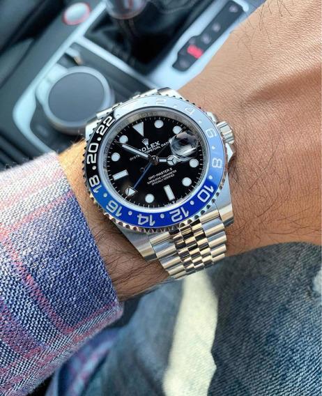 Rolex Preto Azul Batman Gmt Master 40mm Pulseira Jubileu