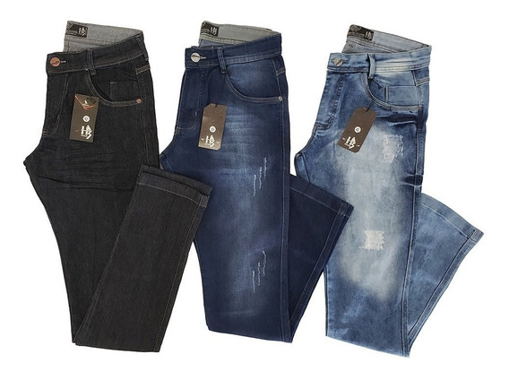 Kit 3 Calças Jeans Masculina Lycra Barato Revenda Atacado
