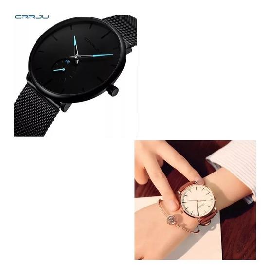 Kit C/ 02 Relógios Masculino Quartzo + Relógio Feminino