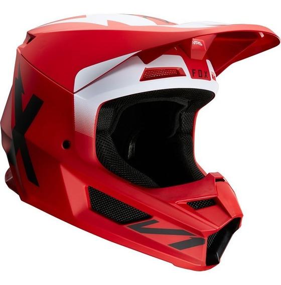 Casco Fox V1 Werd Rojo/flama Motocross Enduro Utv Atv Rzr