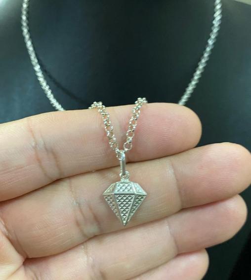 Corrente Elo Português 45cm + Pingente Diamante 3d Prata 925