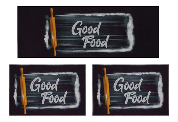 Tapete Allegra Cozinha Good Food Jogo 3 Peças Preto