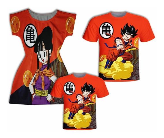 Camisas Pai E Filho + Vestido Mãe - Dragon