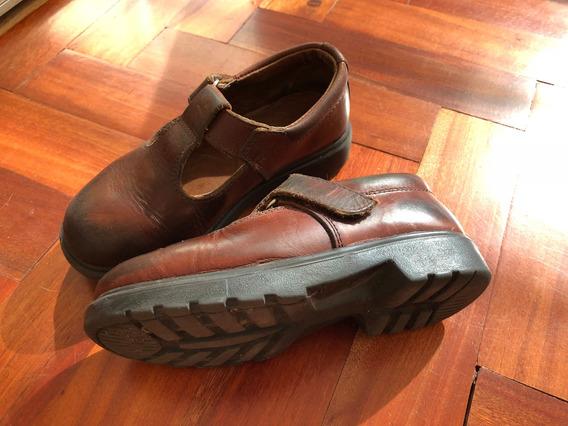 Zapatos Colegiales Nena De Cuero Marrón N 32 Marca Oggi