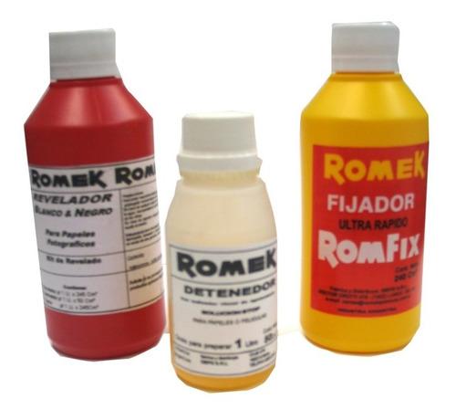 Imagen 1 de 3 de Kit Quimicos Romek P/ Revelado Papel Byn 1 Lt (9421)
