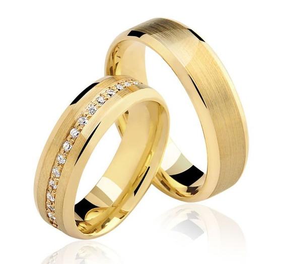 Par De Alianças Ouro 18k 6mm Com Diamante