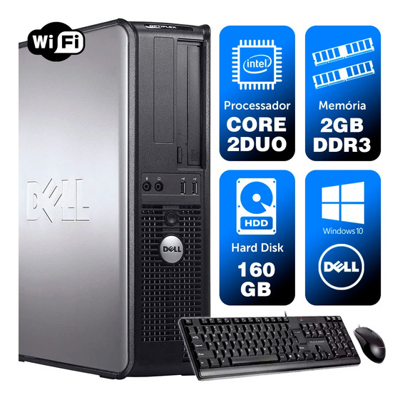 Cpu Usado Dell Optiplex Int C2duo 2gb Ddr3 160gb Brinde