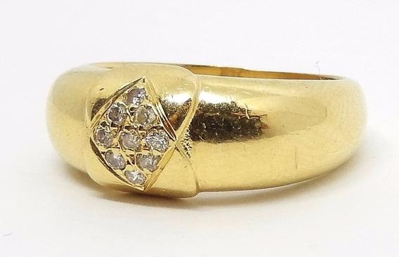 Pesado Anel Aparador Aliança De Ouro 18k Com Diamantes