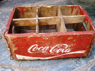 Antiguo Cajón De Madera Original De Coca Cola De 6 Botellas