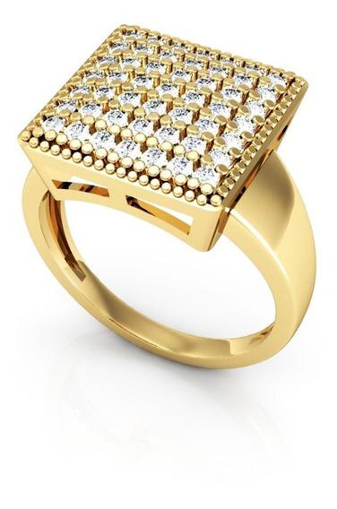 Anel De Ouro Quadrado Cravejado