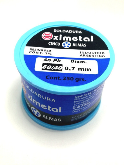 Estaño Rollo Eximetal 0.7mm Para Soldar 250gr 1/4 Kilo 0.7mm
