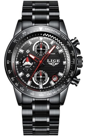 Reloj Casual Cuarzo Hombre Lige 9837 Negro Negro Metal