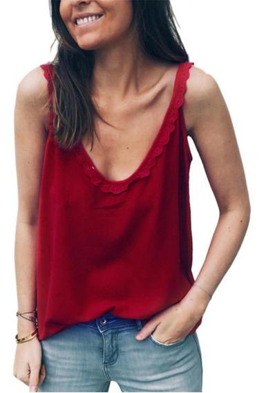 Camiseta Regata Feminina Casual Decote Em V Sem Mangas De Re