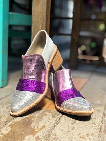 Botas Zapatos Bajos Cuero Mujer Elastico Croco Print Azalea