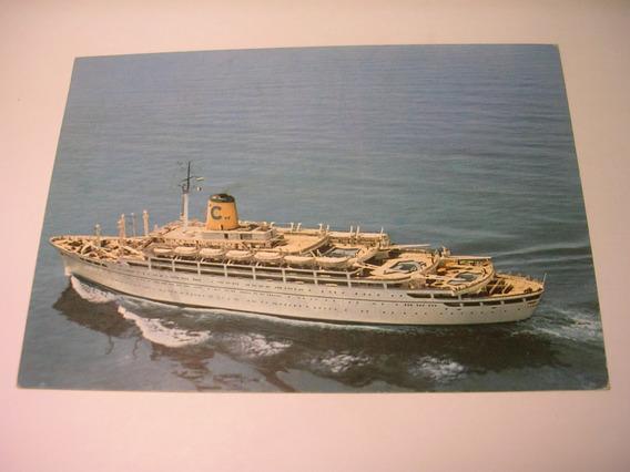 Antigua Postal Línea C Genova Transatlantico Crucero Barco