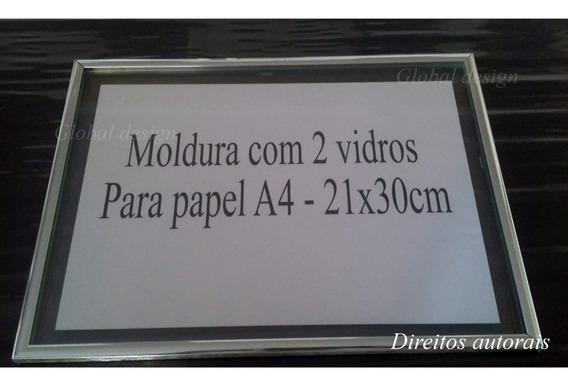 Kit 4 Moldura De Alumínio Com 2 Vidros Para Diploma A4 21x30