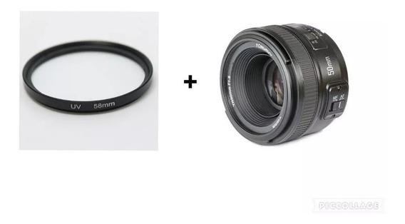 Lente Yongnuo Yn 50mm F1.8 + Filtro Uv 58mm Para Nikon