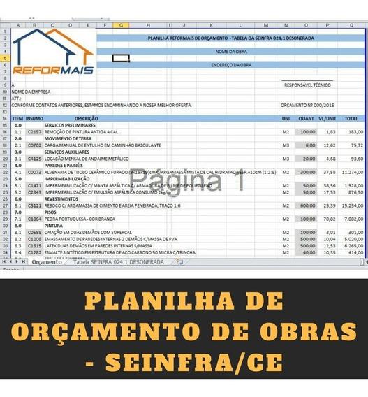 Planilha De Orçamento De Obras Com Seinfra/ce 026 +18 Bônus!