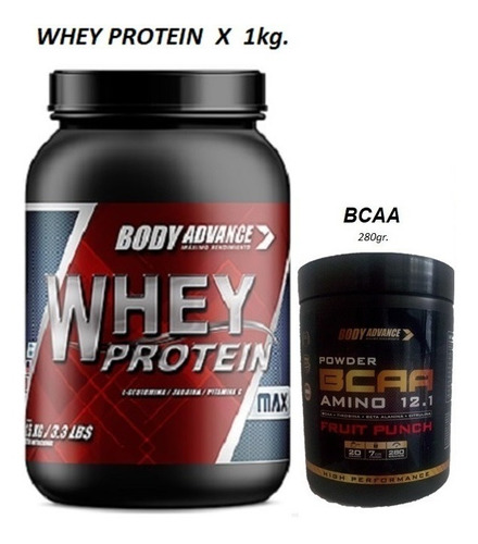 Whey Protein 1 Kg + Bcaa Amino 12.1  Powder  Body Advance