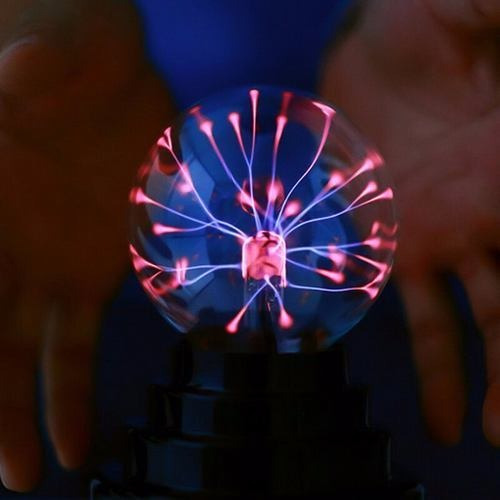 Abajur Esfera Mgica De Plasma Com Cabo Usb Preta Base Preta