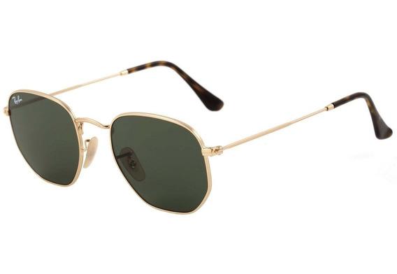 Óculos De Sol Ray-ban Hexagonal Preto C/dourado Feminino Top