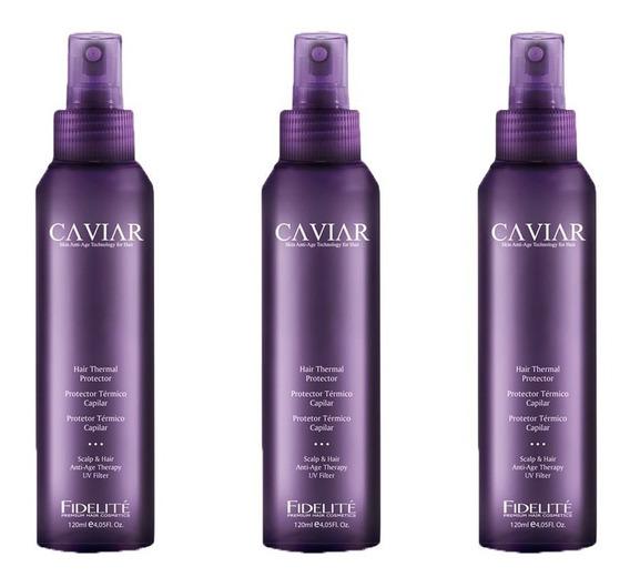 Kit X 3 Protector Termico Anti-age Caviar - Fidelite 120 Ml