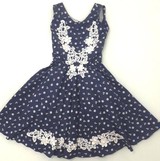 Vestido Infantil Azul Bordado C/ Tule - 9 Anos