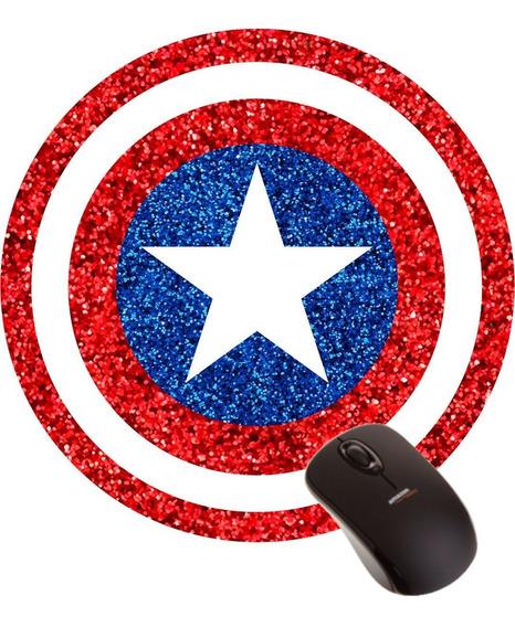Mousepad Capitão América Escudo Logo Super Herói Marvel