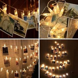 Serie De Pinzas Con Luces Led Decorativas Para Fotos 1.4 M.