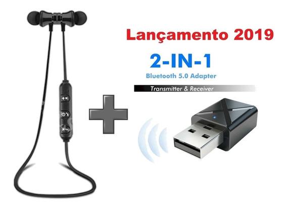 Fone De Ouvido Xt-11 Bluetooth + Transmissor / Receptor Bluetooth Para Tv / Pc / Rádio