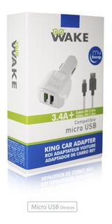 Cargador Para Carro Wake Micro Usb 3.4a Carga Rapida 2 Puert