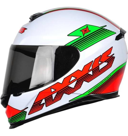 Capacete Axxis Logo Branco Vermelho Verde