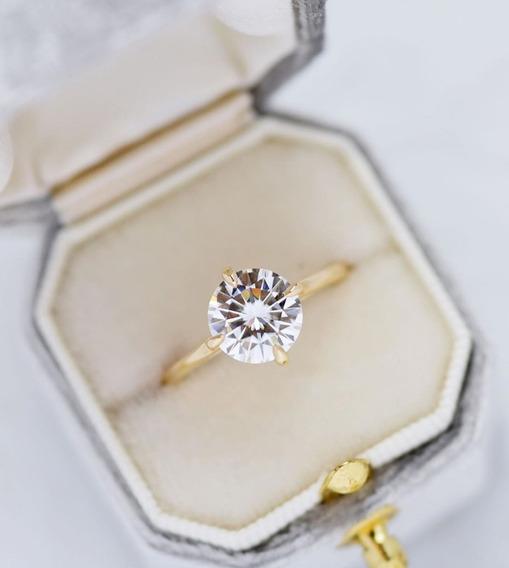 Anel Ouro 18k Solitário Com Diamante 50 Pontos Em 12x S/juro