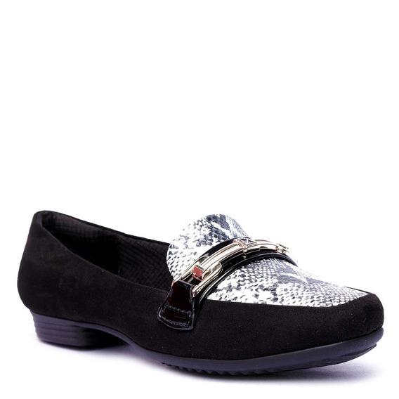 Sapato Feminino Piccadilly Bicolor Com Enfeite