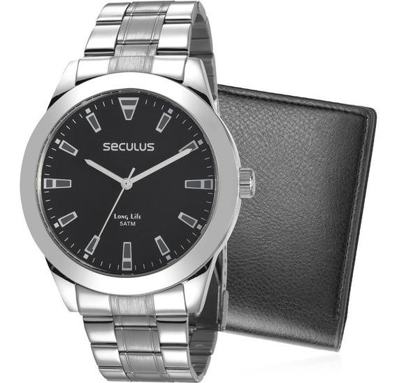 Relógio Seculus Original Prata + Carteira De Couro Grátis