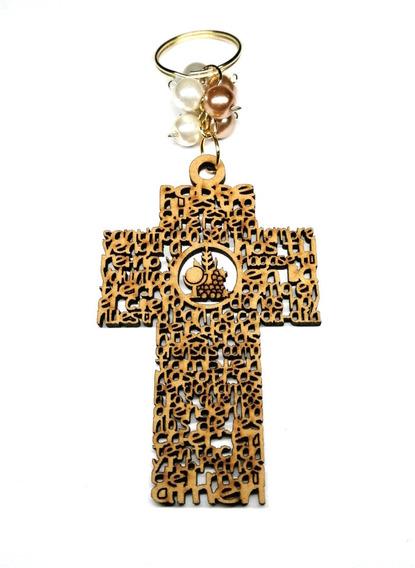 Llavero Cruz Padre Nuestro Recuerdo 1ra Comunion Con Celofan