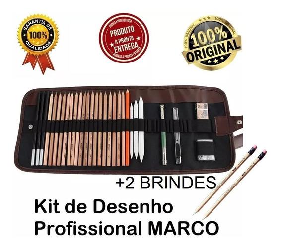 Kit De Lápis De Desenho Profissional 29pcs Marco + 2 Brindes