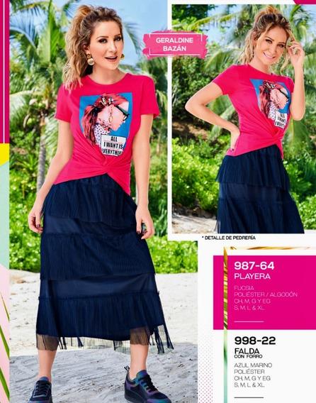 Falda C/forro Azul Marino 998-22 Cklass Primaver-verano 2020