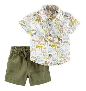 Carters Conjunto Camisa Social E Bermuda Safari 9 M