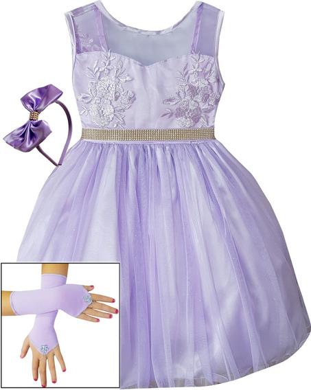Vestido Infantil Princesa Sofia Festa Luxo Com Coroa