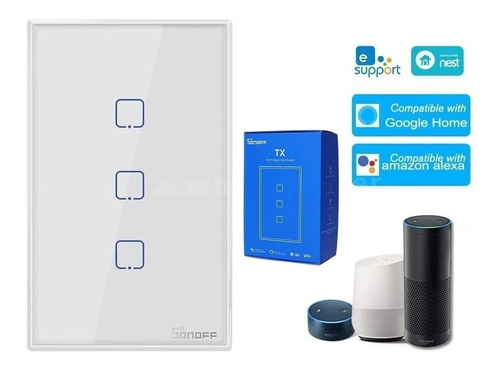 Imagen 1 de 8 de Sonoff Touch Tx Us 3 Domotica Wifi Suiche Tactil Txt0us3c