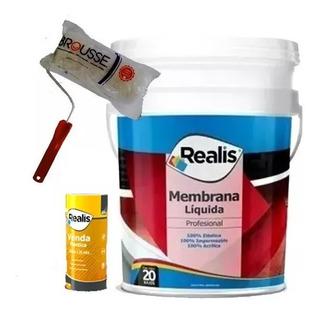 Kit Impermeabilizante - Membrana Liquida Realis 20 Kg Bco + Venda 20cm + Rodillo Nº17 Universo Pinturerias