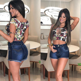 Short Shortinho Jeans Feminino Hot Pant Lycra Levanta Bumbum